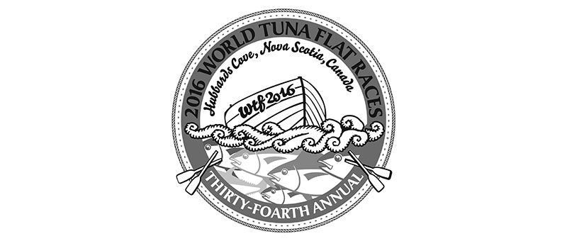 "2016 World Tuna Flat Races Artwork, dory on waves with tuna underneath and the text ""Thirty-foarth"" Annual"