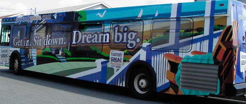 "Guaranty GMAC Real Estate Halifax, ""Get in. Dream Big."" transit bus wrap graphics photo"