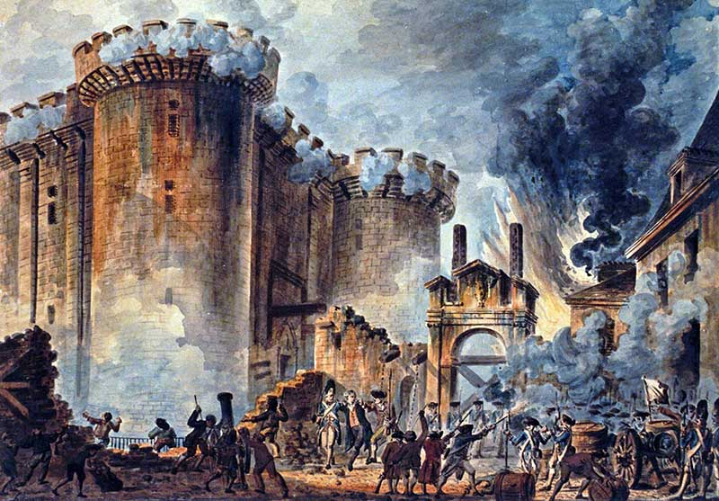 "Reproduction of Jean-Pierre Houël's 1789 painting ""Storming of the Bastille"""