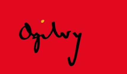 Ogilvy signature on red background