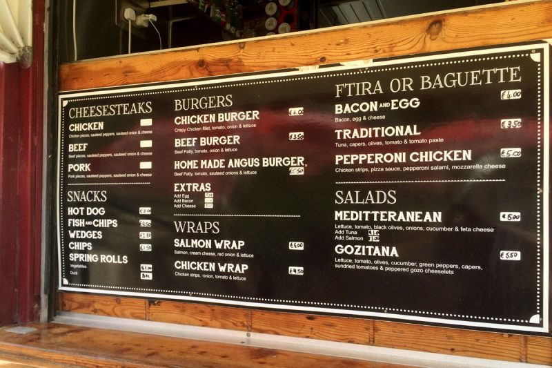 Burger Truck menu in Mġarr ix-Xini