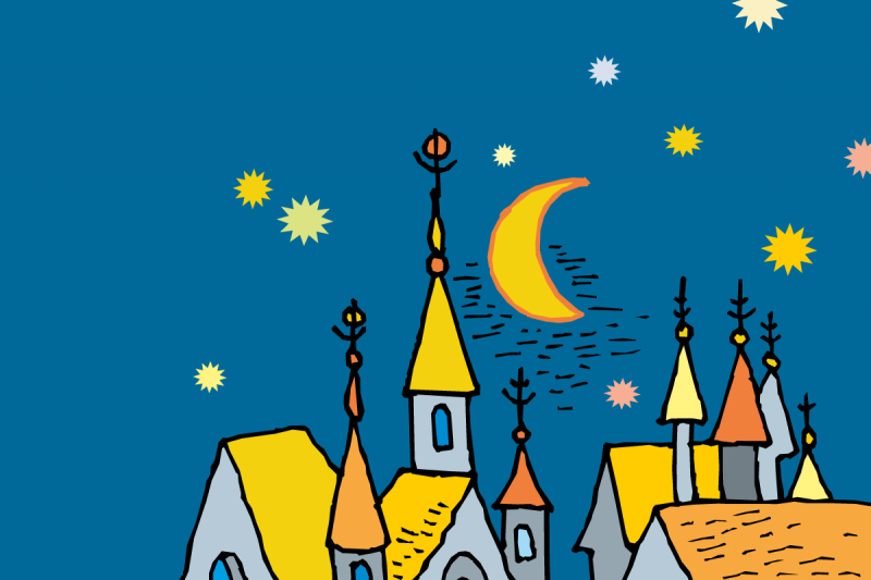 Illustration of a make believe castle on a blue night sky